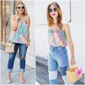 J. CREW Rainbow Gingham Button Front Tank Top - 0